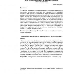 Descripción y escenarios de aprendizaje servicio en la universidad