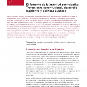 El fomento de la juventud participativa. Tratamiento constitucional, desarrollo legislativo y políticas públicas.
